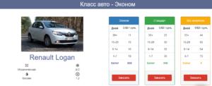 Цены на аренду авто
